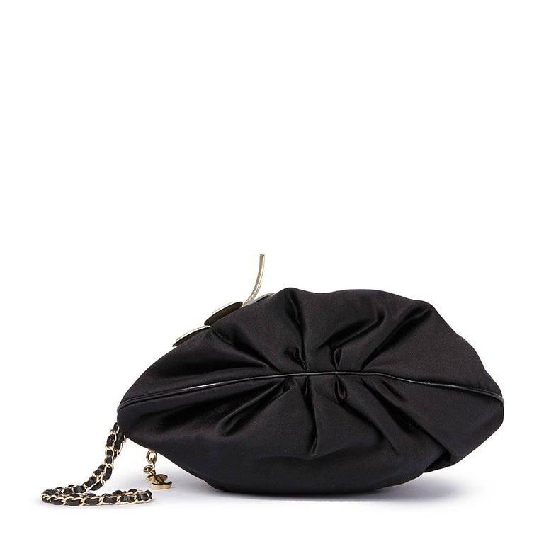 Women's Chanel Black Satin Timesless Four Leaf Clover Wristlet Clutch  For Sale