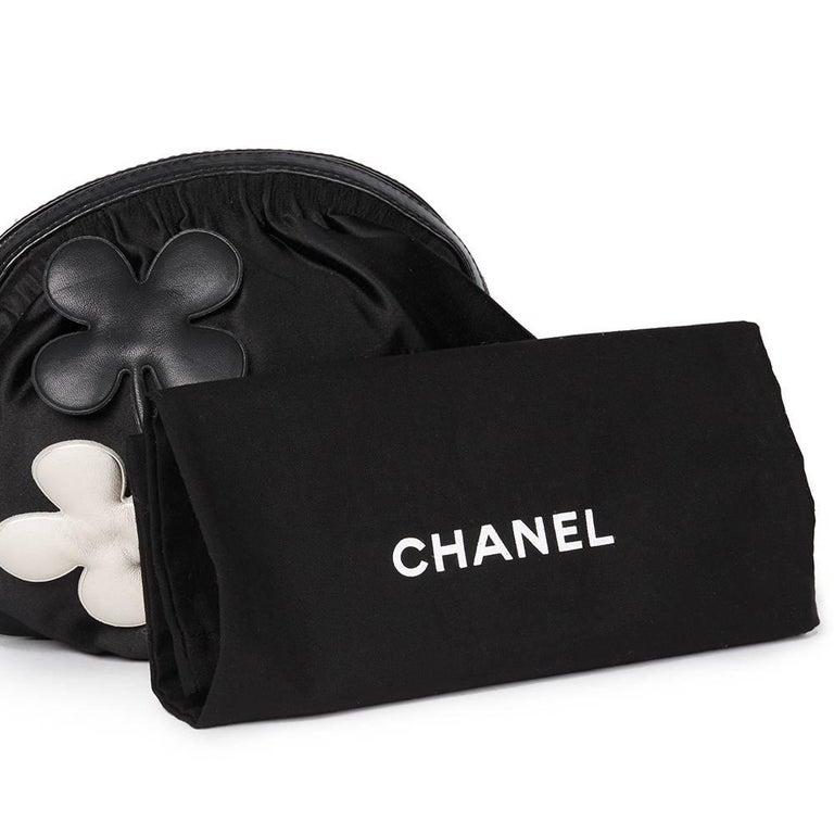 Chanel Black Satin Timesless Four Leaf Clover Wristlet Clutch  For Sale 5