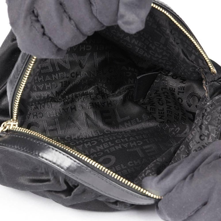 Chanel Black Satin Timesless Four Leaf Clover Wristlet Clutch  For Sale 4