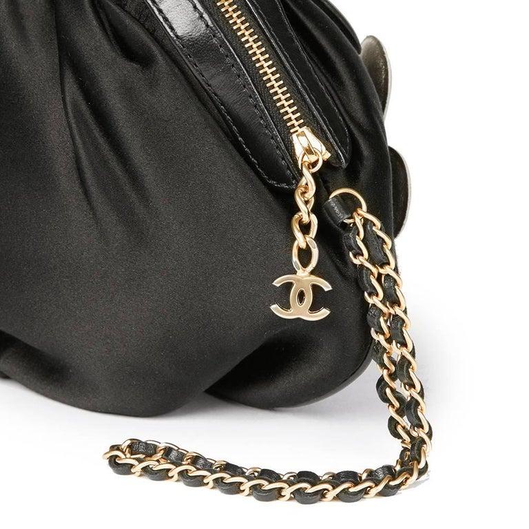 Chanel Black Satin Timesless Four Leaf Clover Wristlet Clutch  For Sale 1