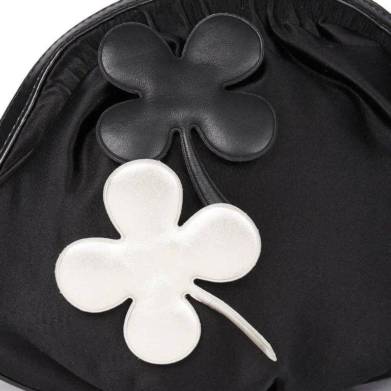 Chanel Black Satin Timesless Four Leaf Clover Wristlet Clutch  For Sale 2