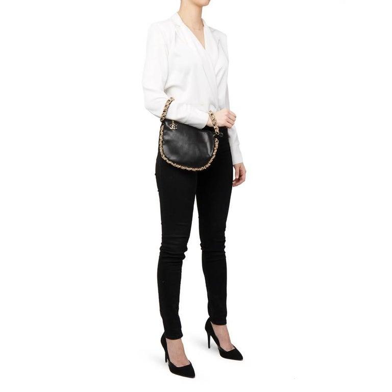 2013 Chanel Black Lambskin Chain Around Timeless Wristlet  For Sale 6