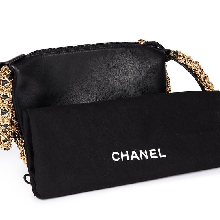 2013 Chanel Black Lambskin Chain Around Timeless Wristlet  For Sale 5