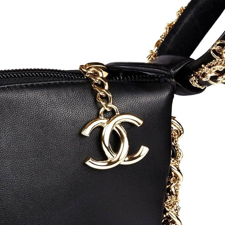 2013 Chanel Black Lambskin Chain Around Timeless Wristlet  For Sale 1