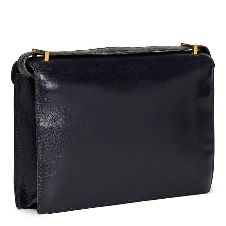 Hermes Navy Box Calf Leather Vintage Jimmy In Good Condition For Sale In Bishop's Stortford, GB