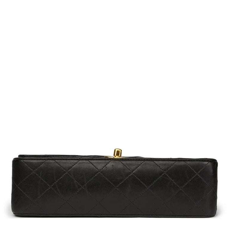 Women's Chanel Black Quilted Lambskin Vintage Leather Classic Double Flap Bag  For Sale