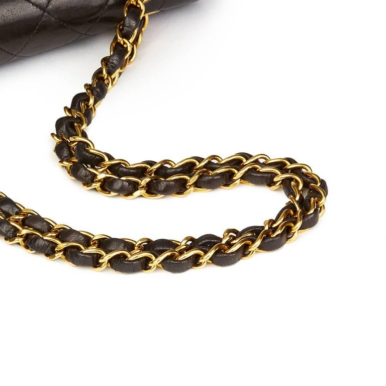 Chanel Black Quilted Lambskin Vintage Leather Classic Double Flap Bag  For Sale 2