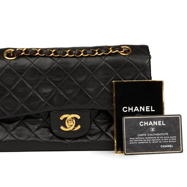 Chanel Black Quilted Lambskin Vintage Leather Classic Double Flap Bag  For Sale 5