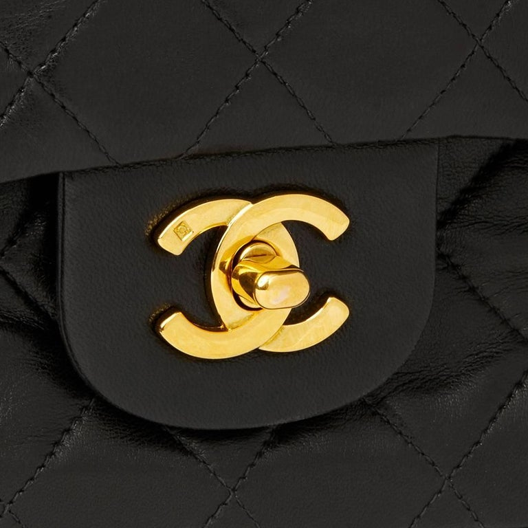 Chanel Black Quilted Lambskin Vintage Leather Classic Double Flap Bag  For Sale 1