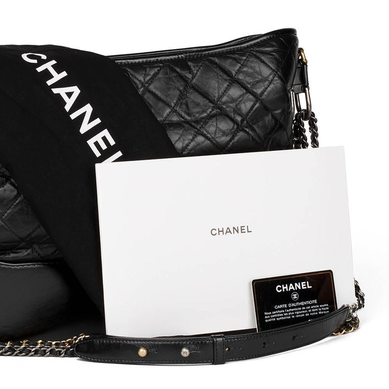 2017 Chanel Black Quilted Aged Calfskin Leather Gabrielle Hobo Bag  For Sale 5