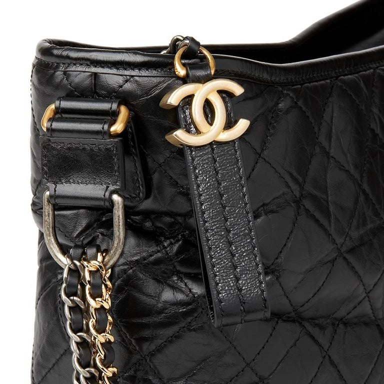 2017 Chanel Black Quilted Aged Calfskin Leather Gabrielle Hobo Bag  For Sale 1