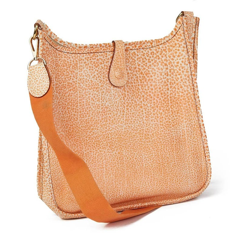 7fb21213fa Women s 2002 Hermes Orange Dalmatian Buffalo Leather Evelyne I PM For Sale
