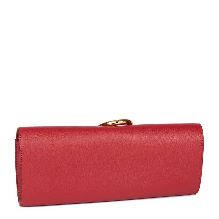 Red 2016 Hermes Rouge Grenat Evergrain Leather Egee Clutch  For Sale