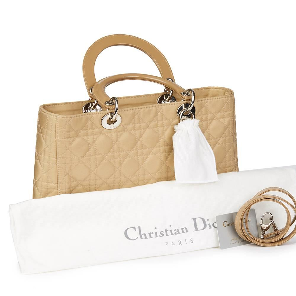 Dior 2001 Christian Dior Beige Quilted Satin & Patent Leather Lady Dior Gm priNHKFy