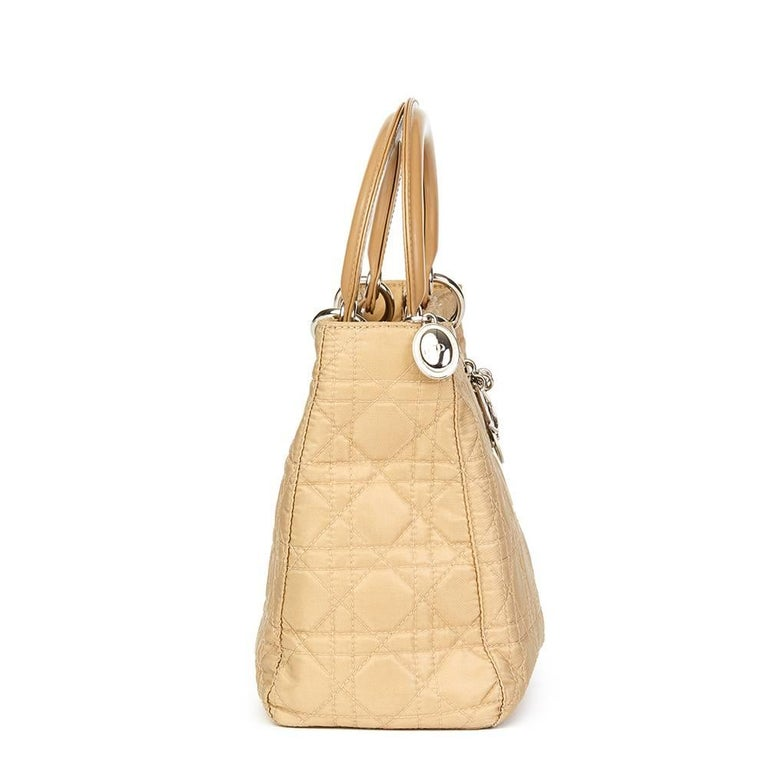 CHRISTIAN DIOR Beige Quilted Satin & Patent Leather Lady Dior MM  Xupes Reference: HB1611 Serial Number: RU0051 Age (Circa): 2001 Accompanied By: Shoulder Strap Authenticity Details: Date Stamp (Made in Italy) Gender: Ladies Type: Shoulder, Top