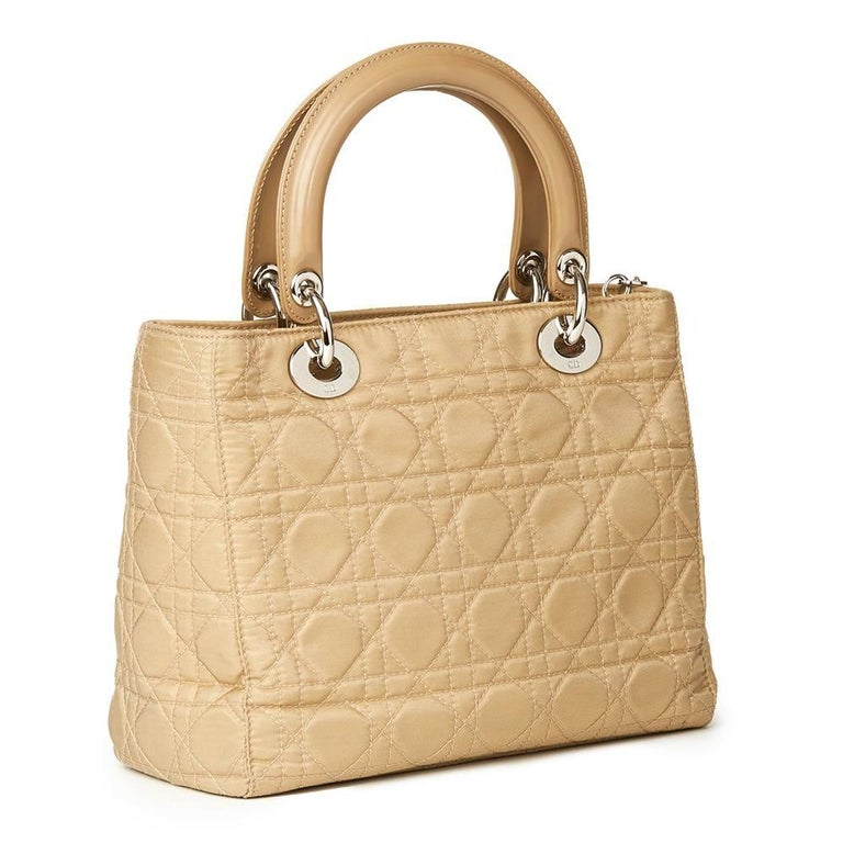 2001 Christian Dior Beige Quilted Satin & Patent Leather Lady Dior MM  In Excellent Condition For Sale In Bishop's Stortford, Hertfordshire