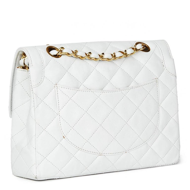 Gray 1993 Chanel White Quilted Lambskin Vintage Limited Edition Double Flap Bag  For Sale