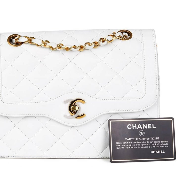 1993 Chanel White Quilted Lambskin Vintage Limited Edition Double Flap Bag  For Sale 3