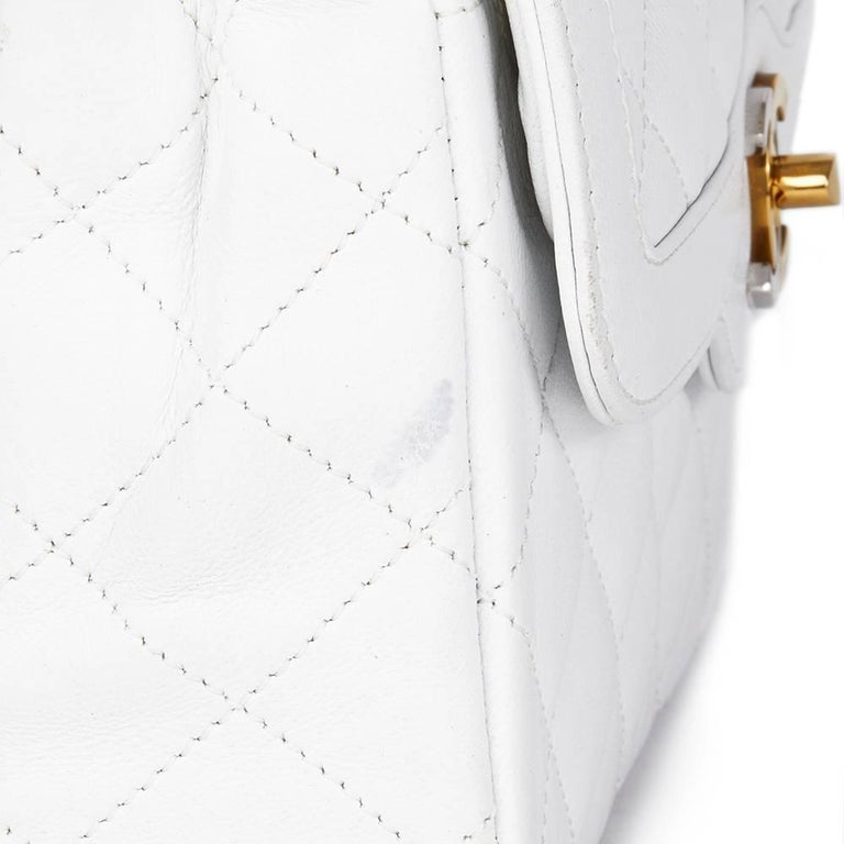 1993 Chanel White Quilted Lambskin Vintage Limited Edition Double Flap Bag  For Sale 4