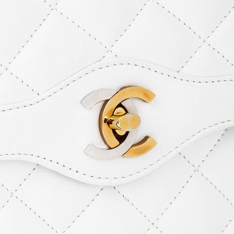 Women's 1993 Chanel White Quilted Lambskin Vintage Limited Edition Double Flap Bag  For Sale