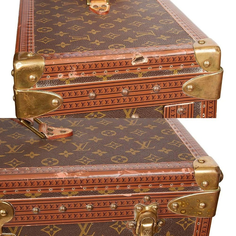 1980 Louis Vuitton Brown Monogram Coated Canvas Vintage Wardrobe Trunk For Sale 6