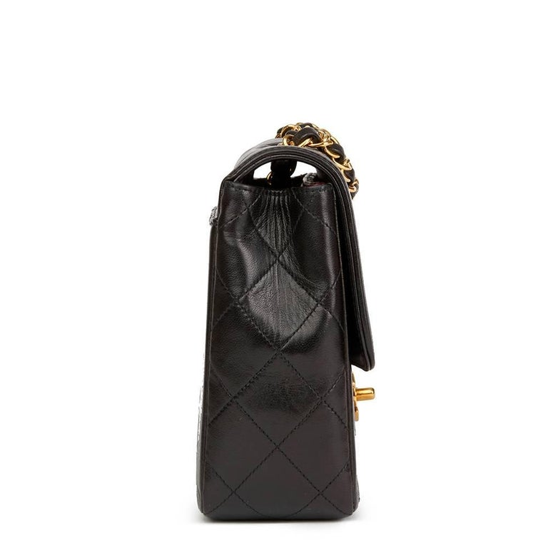 Chanel Black Quilted Lambskin Vintage Classic Single Flap Bag, 1990s  In Excellent Condition For Sale In Bishop's Stortford, Hertfordshire
