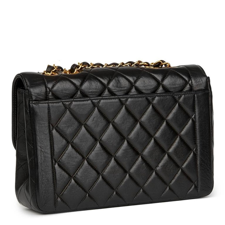 Women's Chanel Black Quilted Lambskin Vintage Classic Single Flap Bag, 1990s  For Sale