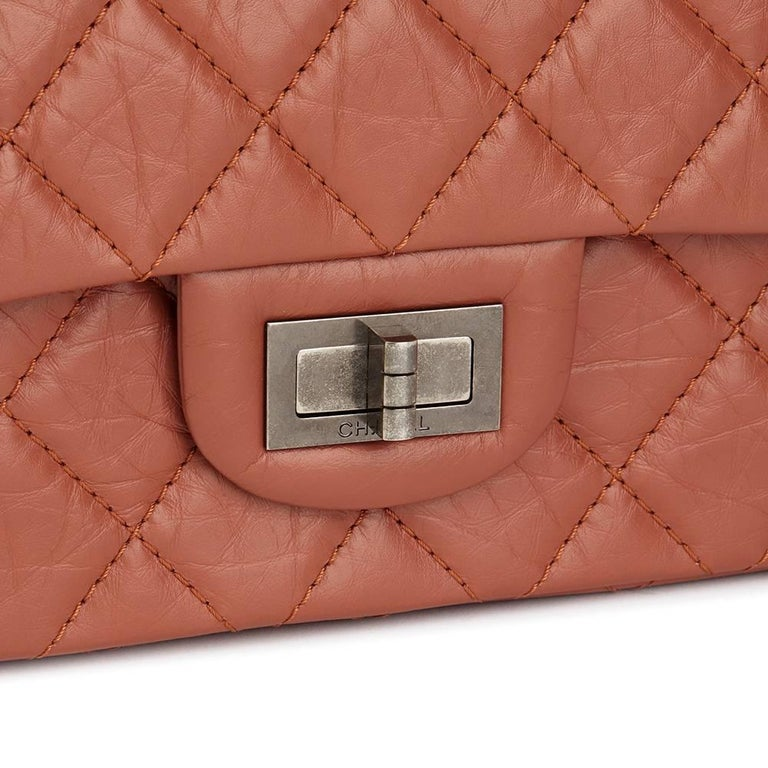 d3cf397bba3c Women s 2014 Chanel Brick Aged Calfskin Leather 2.55 Reissue 227 Double  Double Flap Bag For Sale