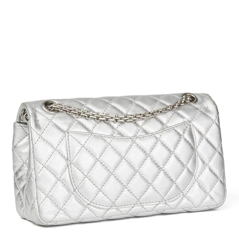 b79e028fa7fa Chanel Silver Quilted Metallic Lambskin 2.55 Reissue 225 Double Flap Bag,  2009 In Excellent Condition