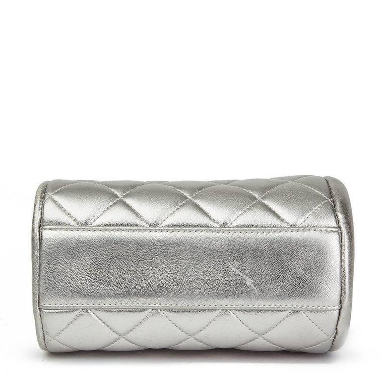 4efcf2790a37 Women's Chanel Silver Quilted Metallic Lambskin Vintage Mini Timeless Frame  Bag, 1996 For Sale