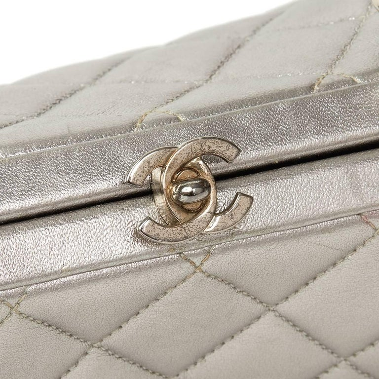 c5fb38508820 Chanel Silver Quilted Metallic Lambskin Vintage Mini Timeless Frame Bag,  1996 For Sale 1