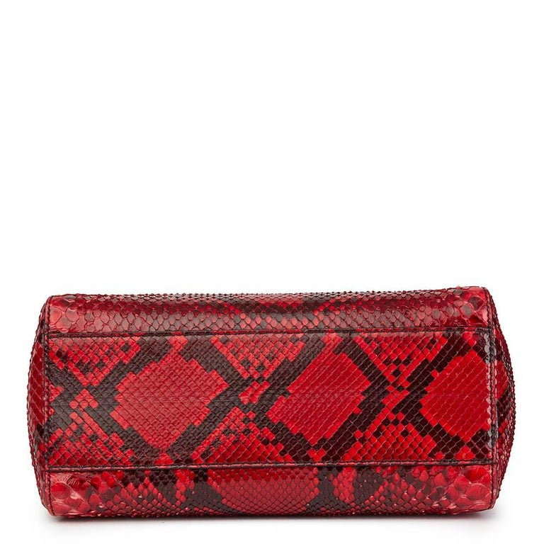 d12ed8f94389 Women s 2017 Fendi Red Python Leather Mini Peekaboo For Sale