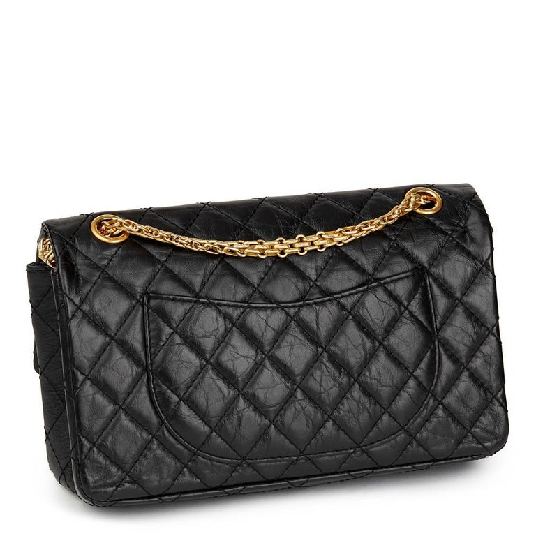 Chanel Black Aged Calfskin Casino Lucky Charms 2.55 Reissue 225 Double Flap Bag In Excellent Condition For Sale In Bishop's Stortford, Hertfordshire