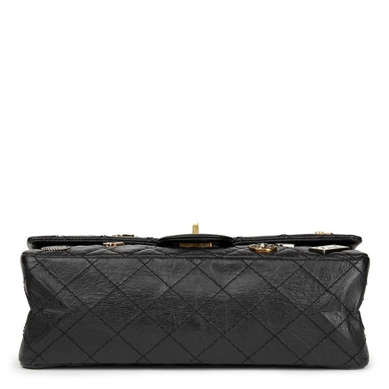 Women's Chanel Black Aged Calfskin Casino Lucky Charms 2.55 Reissue 225 Double Flap Bag For Sale