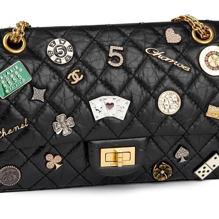 Chanel Black Aged Calfskin Casino Lucky Charms 2.55 Reissue 225 Double Flap  Bag For Sale 1 97108dd440eb1