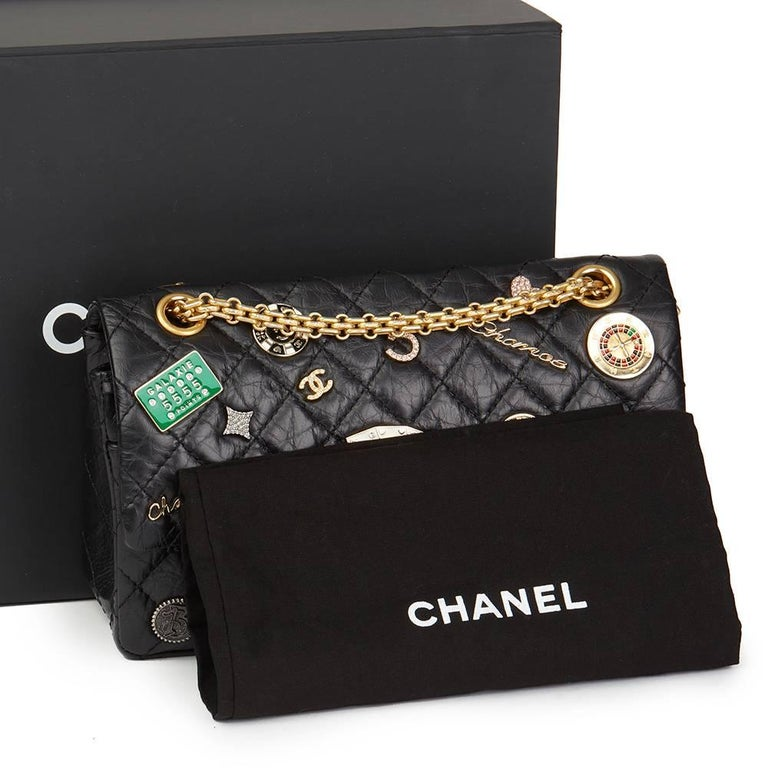 Chanel Black Aged Calfskin Casino Lucky Charms 2.55 Reissue 225 Double Flap Bag For Sale 5
