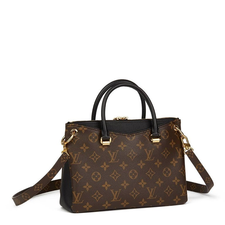 19a329e0e9ac 2017 Louis Vuitton Brown Monogram Canvas   Black Calfskin Leather Pallas BB  In Excellent Condition For
