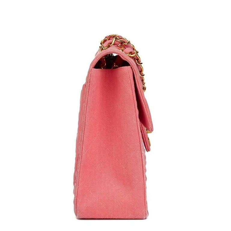 1993 Chanel Pink Quilted Denim Vintage Maxi Jumbo XL Flap Bag In Good Condition For Sale In Bishop's Stortford, Hertfordshire