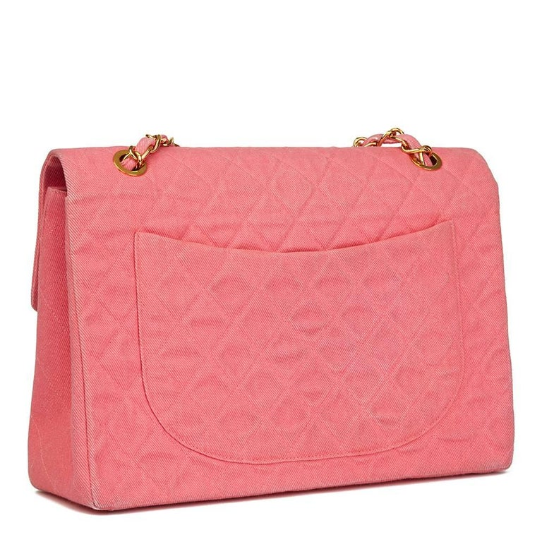 Women's 1993 Chanel Pink Quilted Denim Vintage Maxi Jumbo XL Flap Bag For Sale
