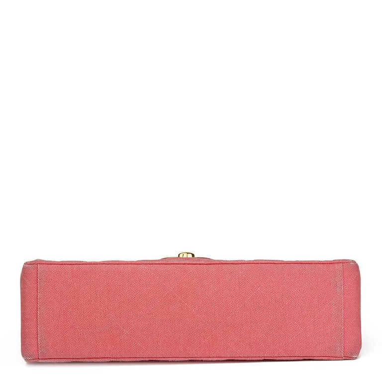 1993 Chanel Pink Quilted Denim Vintage Maxi Jumbo XL Flap Bag For Sale 1