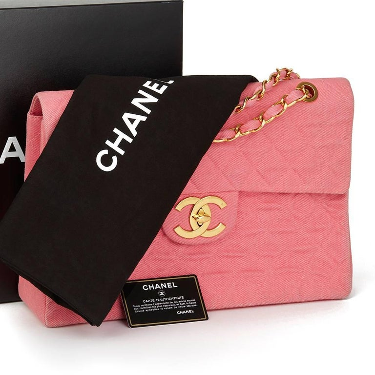 1993 Chanel Pink Quilted Denim Vintage Maxi Jumbo XL Flap Bag For Sale 6