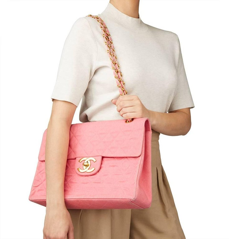 1993 Chanel Pink Quilted Denim Vintage Maxi Jumbo XL Flap Bag For Sale 8