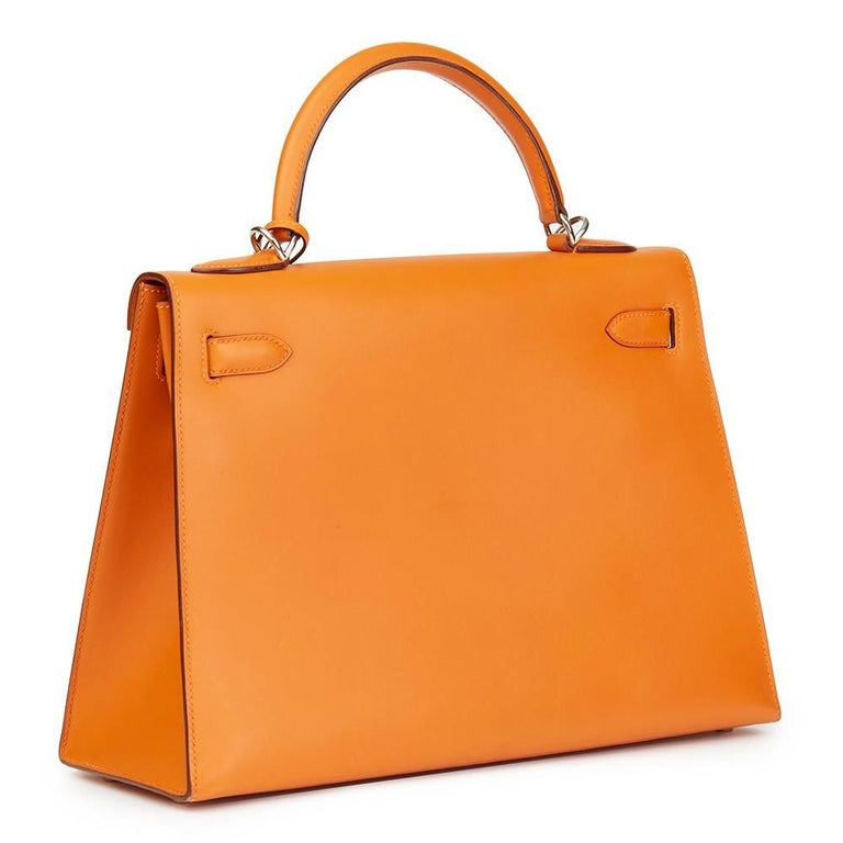 Hermes Orange H Calf Leather Kelly 32cm Sellier Bag, 2004  In Excellent Condition For Sale In Bishop's Stortford, Hertfordshire