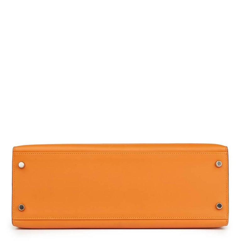 Women's Hermes Orange H Calf Leather Kelly 32cm Sellier Bag, 2004  For Sale