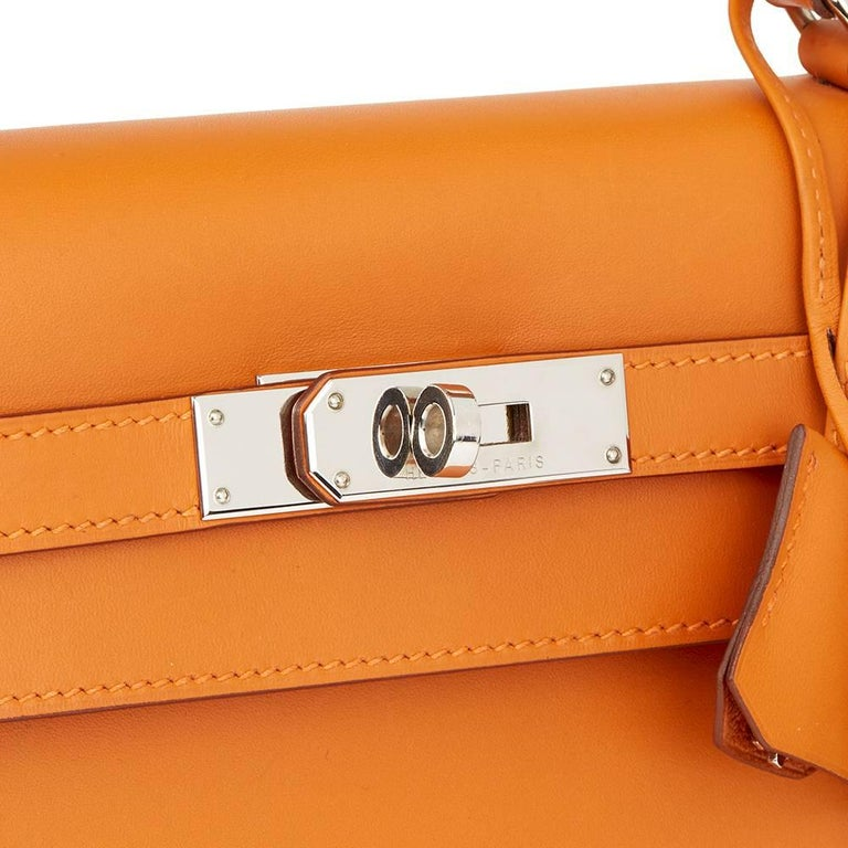Hermes Orange H Calf Leather Kelly 32cm Sellier Bag, 2004  For Sale 1