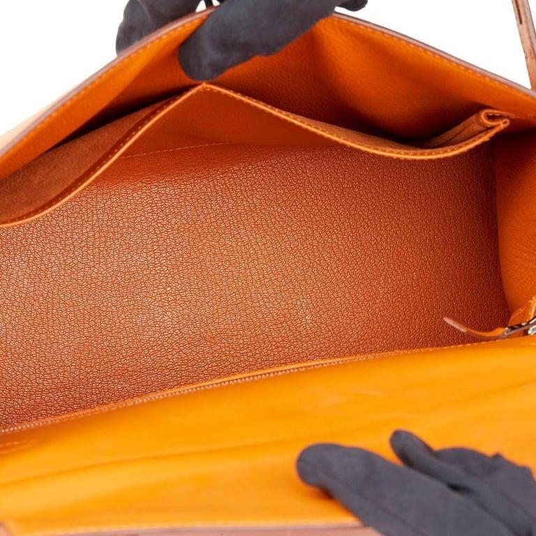 Hermes Orange H Calf Leather Kelly 32cm Sellier Bag, 2004  For Sale 4