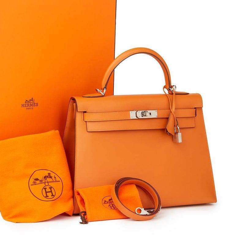 Hermes Orange H Calf Leather Kelly 32cm Sellier Bag, 2004  For Sale 6