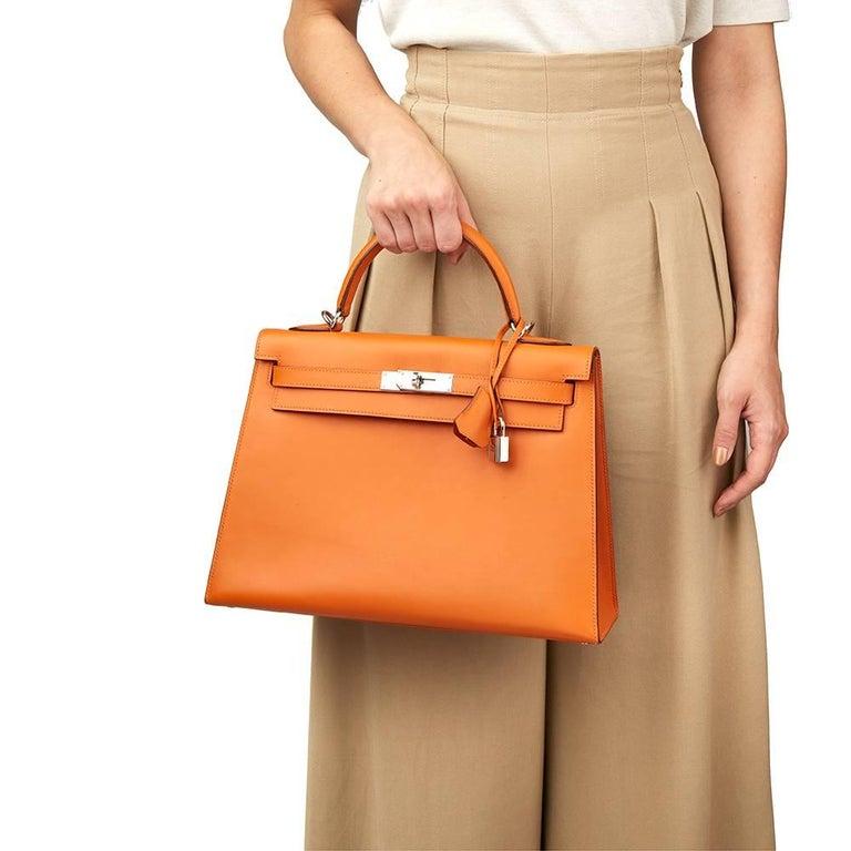 Hermes Orange H Calf Leather Kelly 32cm Sellier Bag, 2004  For Sale 7