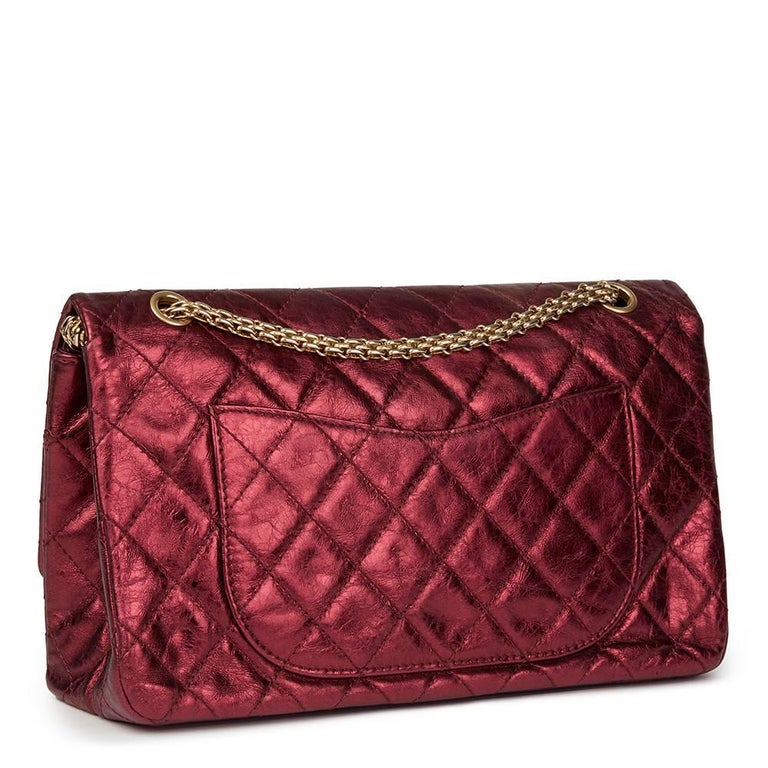 Brown 2009 Chanel Red  Metallic Aged Calfskin Leather 2.55 Reissue 227 Double Flap Bag For Sale