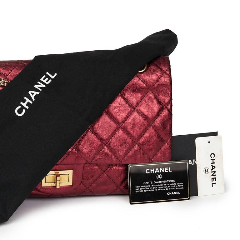 2009 Chanel Red  Metallic Aged Calfskin Leather 2.55 Reissue 227 Double Flap Bag For Sale 4